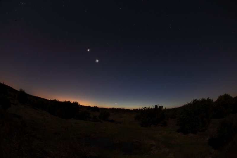 Jupiter Venus and Mercury from North Weirs